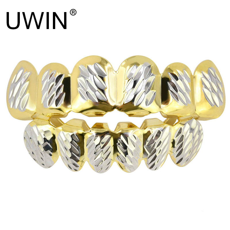 UWIN New Gold Silver Dlampnd Cut 6 Tooth Top & Bottom Grills Teeth Caps Tooth Hip Hop GRILLs Set Party Jewelry