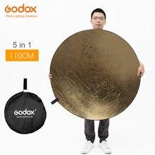 """Godox Reflector de fotografía portátil, tablero Reflector de fotografía plegable para estudio, 43 """", 110cm, 5 en 1"""