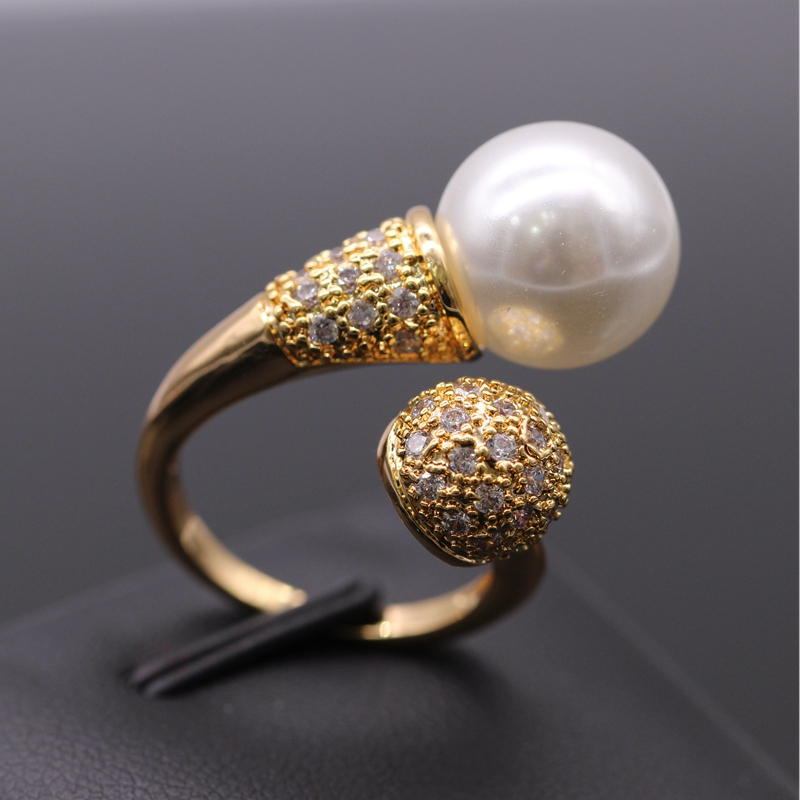 GZJY Cantik Warna Champagne Emas Dibuat Mutiara Putih Zircon Wedding - Perhiasan fashion - Foto 6