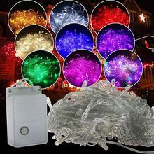 10 м 100 светодиодная гирлянда, Рождественская елка, сказочный светильник, цепочка, водонепроницаемая, для дома, сада, вечерние, уличные, праздничные украшения