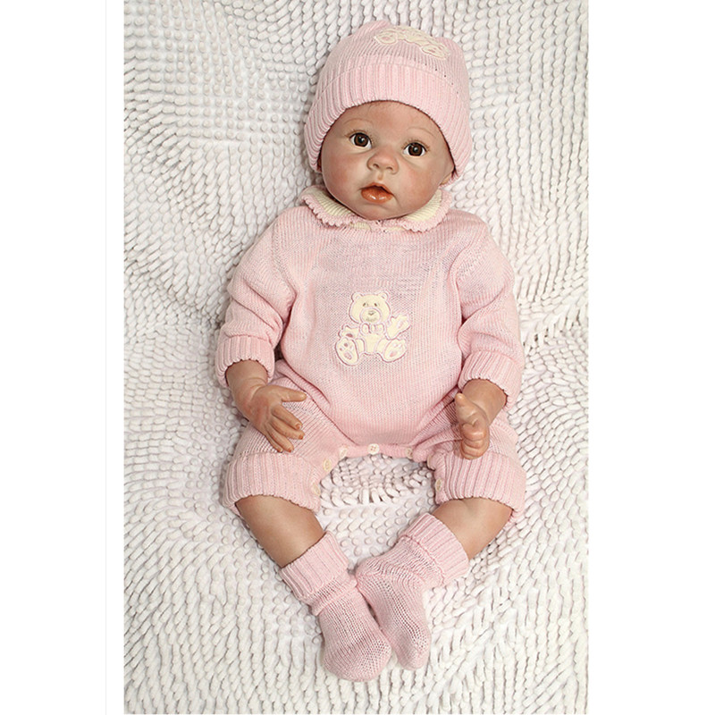 20  Silicone Reborn Baby Doll , Lifelike Baby Dolls Brown Eyes Special Toys for Children Christmas Present