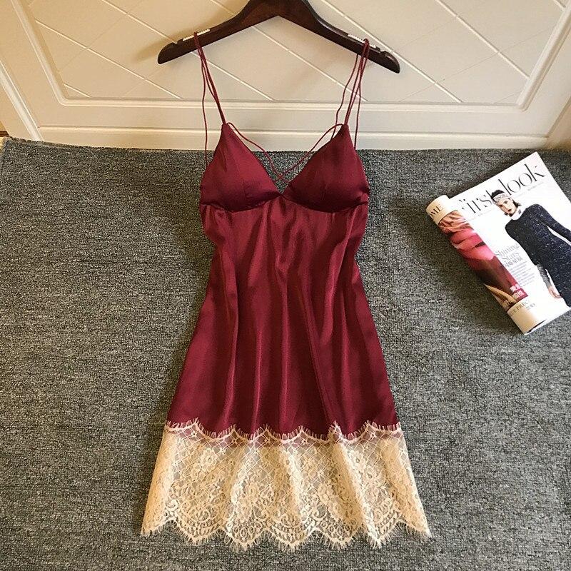 Lace Sexy   Nightgown   V-Neck Nightwear Nighty Faux Silk Female Suspender Skirt Sleepwear   Sleepshirt   Casual Home Wear Nightdress