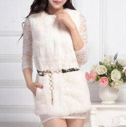 Лучшее качество, натуральный кроличий мех, жилет для женщин, модный натуральный кроличий мех, жилетка, фабричная, опт и розница, TFP950 - Цвет: Beige