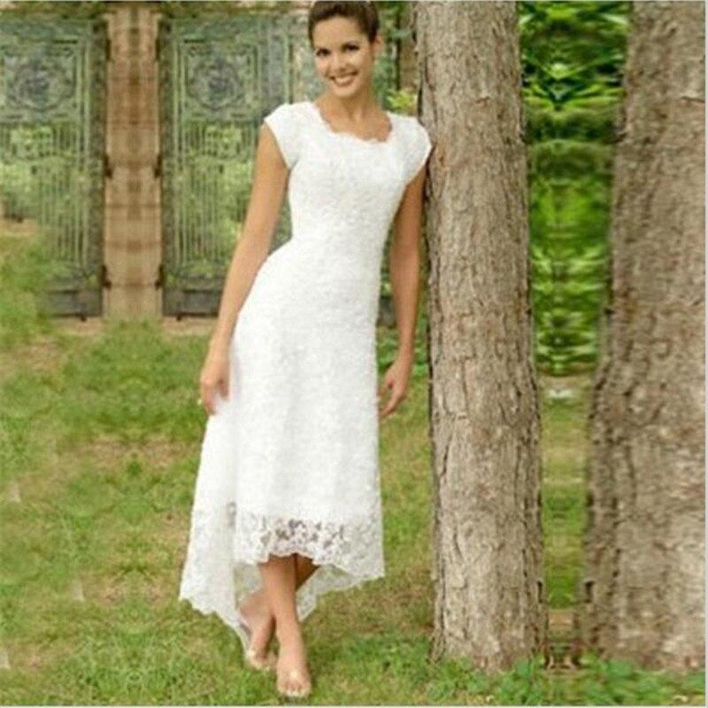 Short Sleeve Lace Wedding Dresses 2016 Chiffon Simple: Simple Style Short Sleeve High Low Wedding Dresses 2016