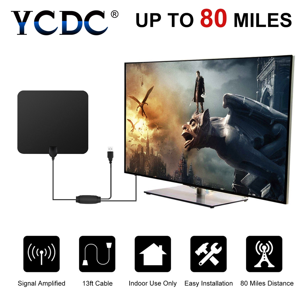YCDC Digital 80 Miles Range Indoor Amplified TV Antenna Black Flat USB Digital Tv HDTV Antena Signal Amplifier For Tv Reception