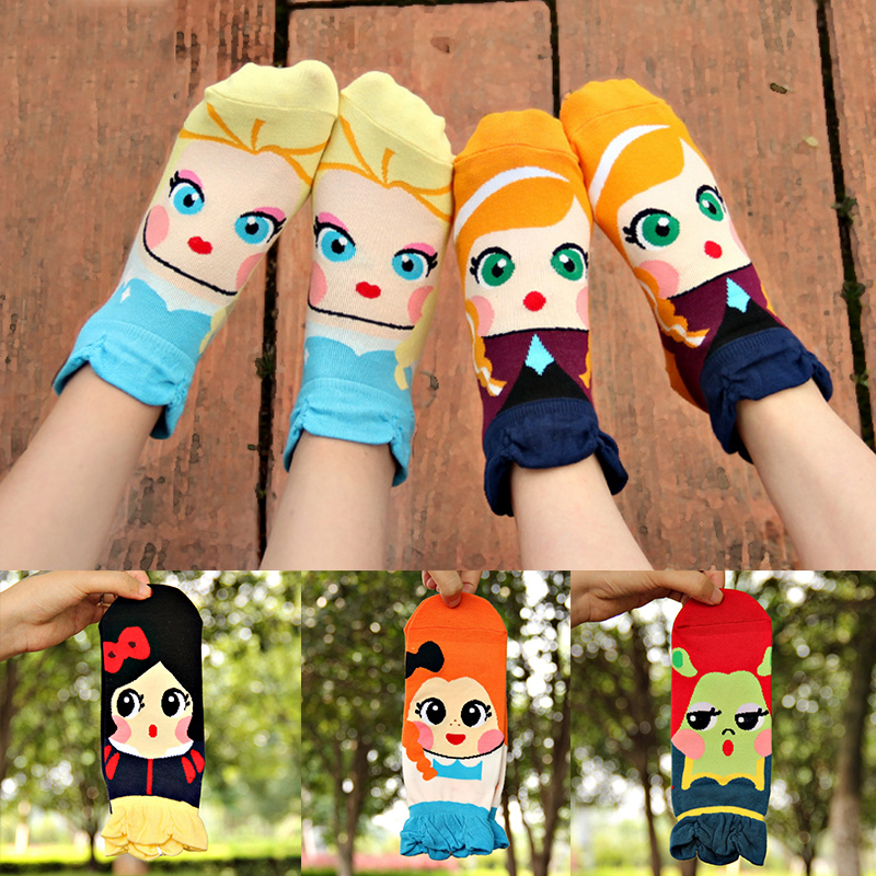 Popular Creative 1 Pair Lovely Girls Student Cartoon Princess Cute Dolls Cotton Blends Short Low Cut Ankle Socks