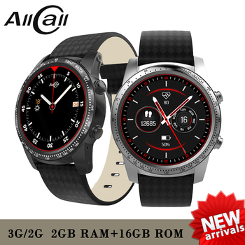 "AllCall W1 2GB RAM 16GB ROM 1.39"" AMOLED screen Heart Rate Phone Smart Watch GPS 3G/2G Watch-Phone MTK6580m Android 5.1 MP4 WiFi"