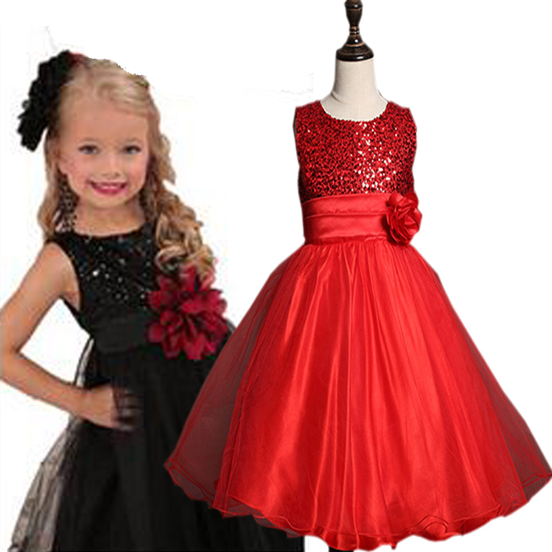 2017 New Summer Girls rose Dress Princess Kids Wedding Dresses Sequins Girl Clothes Clothing Christmas Children Party Costume 2017 new girls dresses for party and wedding baby girl princess dress costume vestido children clothing black white 2t 3t 4t 5t
