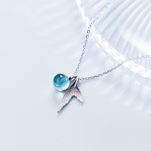 6413803ec 100% 925 Sterling Silver Blue Crystal Mermaid Pendant Necklace For Women  Wedding Birthday Gift Creative