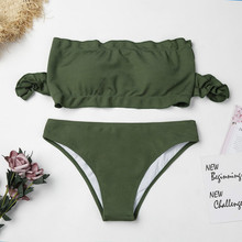 2018 New Europe And America Sexy Bikini Ruffled Split Swimsuit Beach Solid Color Ladies