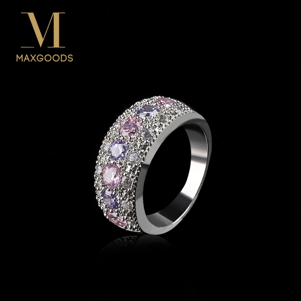 Women Jewelry Ring Silver Plated PINK Gems Couple Rings Wedding Ring Size:7