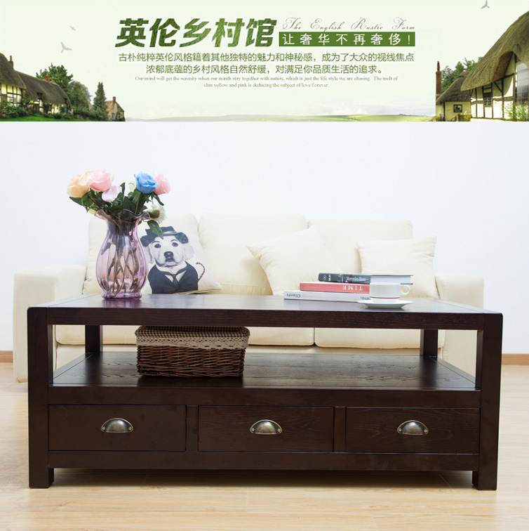 Discount Country Furniture: Cheap American Country Wood Coffee Table Long Side Tables