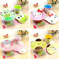 3 Piece Set Kids Cartoon Melamine Plates Bowl Cups Baby Food Feeding Melamine Cartoon Dinner Sets