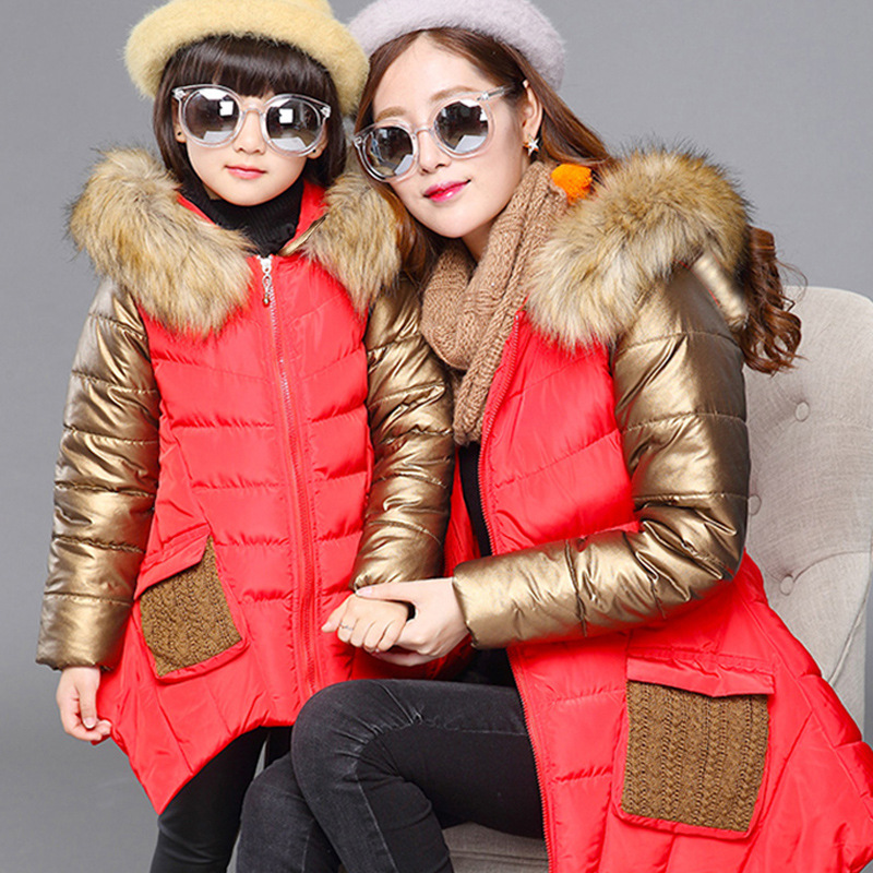 Image 4 - Fashion Winter Thicken Warm Cotton Child Coat Children Outerwear Patchwork Fur Collar Baby Girls Jackets For 2 14 Years Old-in Down & Parkas from Mother & Kids