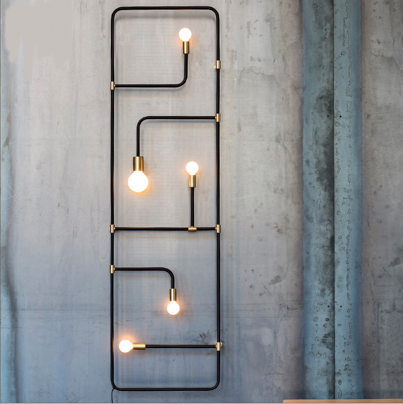Nordic Loft Simple Industrial Style Black Iron Pipe Wall