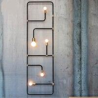 Nordic loft simples estilo industrial preto tubo de ferro lâmpada parede para barra sala jantar decorativa arandela lamparas pared|lamp for bar|lamp for|lamp style -