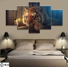 Hot Sales Without Frame 5 Panels Picture Forest Tiger Canvas Print Painting Artwork Wall Art Wholesale