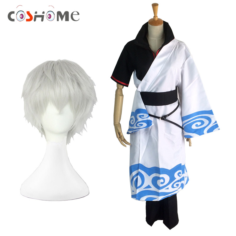 Coshome Gintama Sakata Gintoki Cosplay Costumes Halloween Party Dress For Men Kimono Clothing Set With White Short Wigs