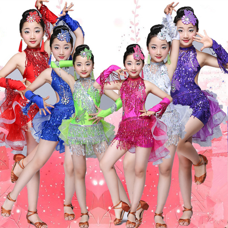 96fa6ce67 Sequin Fringe tassel Salsa Dress Child Kids Dresses Latin dance wear for  girls latin ballroom tango spandex children 2018 rumba