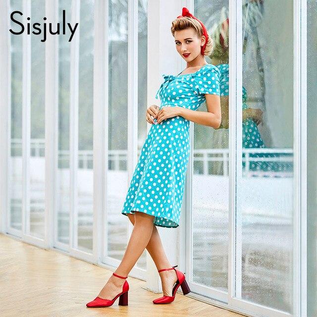 Sisjuly bodycon dress women vintage polka dots dresses bowknot straight office short sleeve green retro bodycon dresses 2017