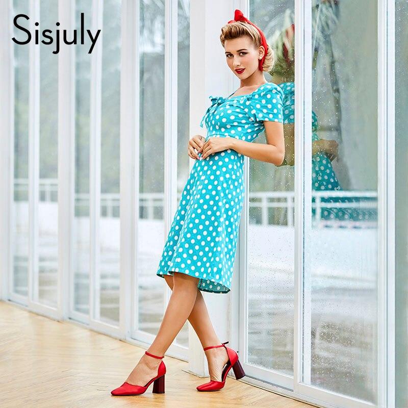 Sisjuly női vintage pöttyös ruha bowknot egyenes irodai hölgy - Női ruházat