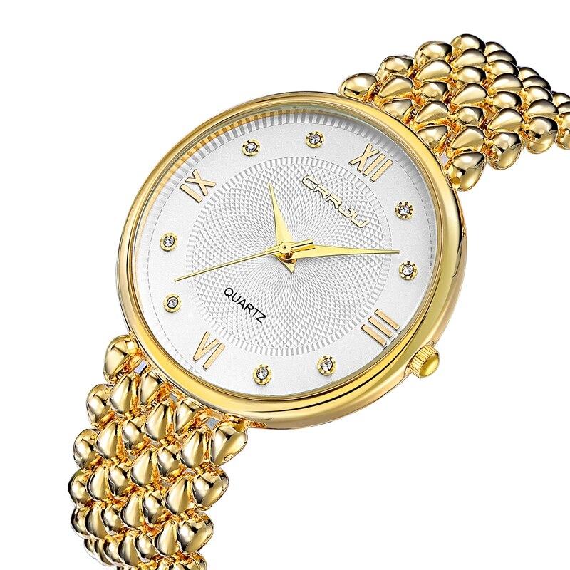 CRRJU Top luxury Dress Brand Fashion Watch Woman Ladies Gold Diamond relogio feminino Dress Clock female relojes mujer 2017 New