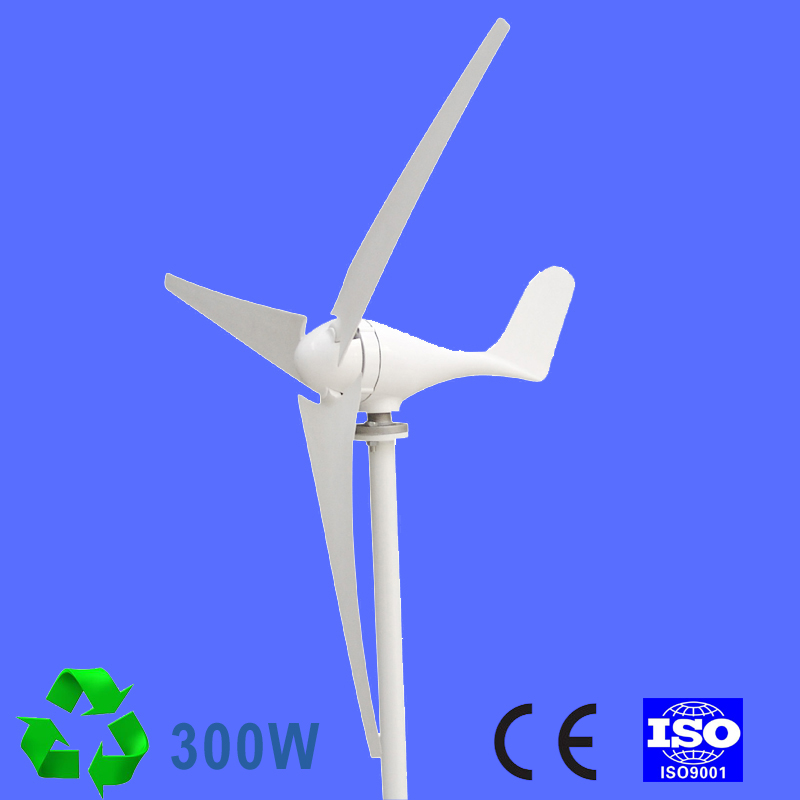 300W Wind Turbine Generator 24V AC 2.0m/s Low Wind Speed Start,3/5 blade 650mm, with charge controller
