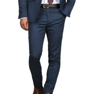 Image 2 - Traje de boda azul oscuro para hombre, traje azul ajustado, a la moda, traje de negocios a medida, esmoquin azul, 2019