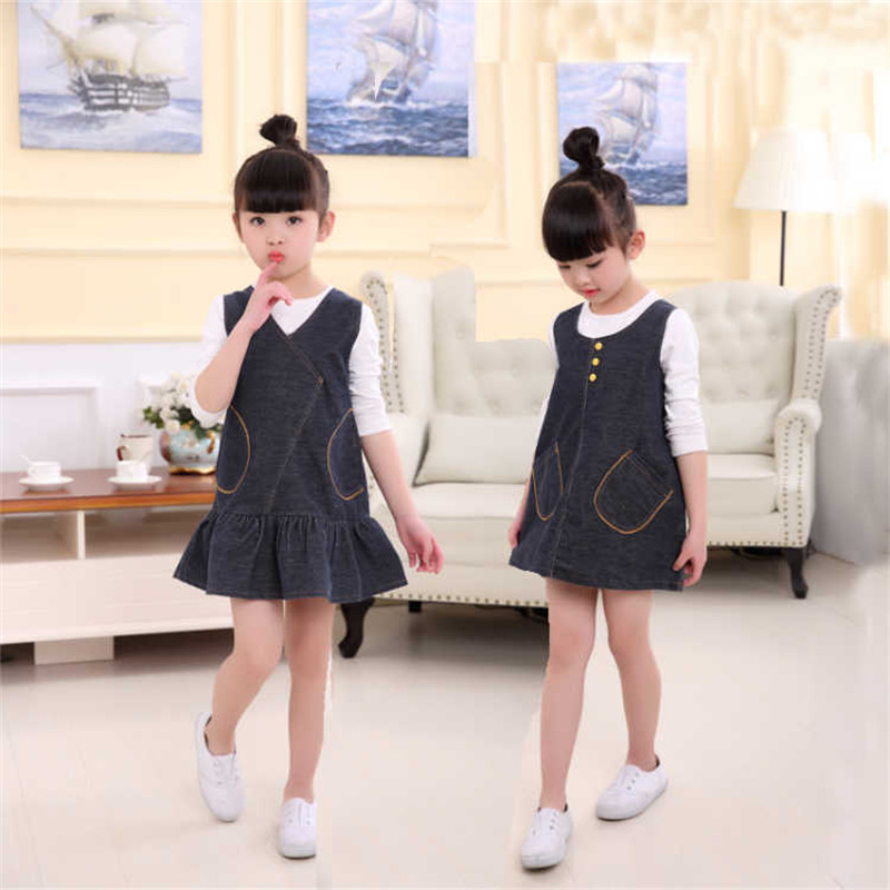 Infant Baby Girl Dress 2018 New Autumn O-neck Cotton Kids Clothes Denim Vest Dresses For Girls Sweet Children Clothing 3ds279 fashion kids baby girl dress clothes grey sweater top with dresses costume cotton children clothing girls set 2 pcs 2 7 years
