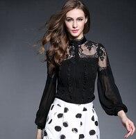 New AutumnArrivals Women White Black Silk Blouses Brand Desigual Larten Long Sleeve Lace Silk Tops Blusas