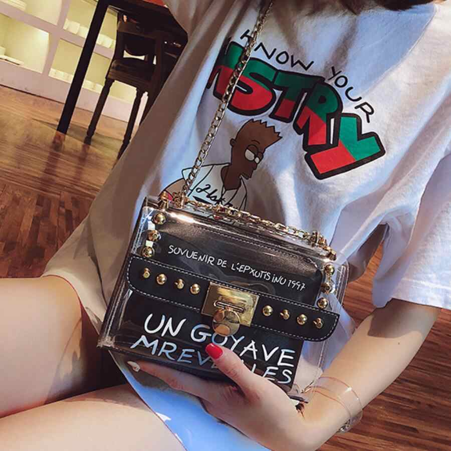 c78e4a3409d9 ... 2018 Summer Fashion New Handbag High quality PVC Transparent Women bag  Sweet Printed Letter Square Phone ...