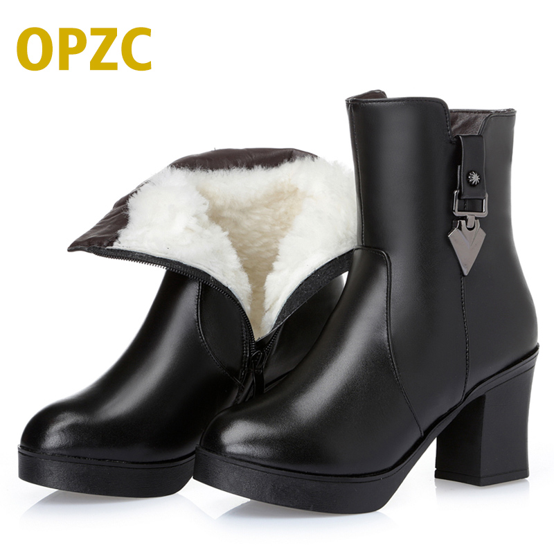 OPZC Women Winter Boots Genuine Leather Ankle boots high-heeled women Martin boots wool lined warm snow boots Lady Fashion shoes odetina fashion genuine leather fringe short ankle suede snow boots for women wool fur lined winter warm shoes tassels slip on