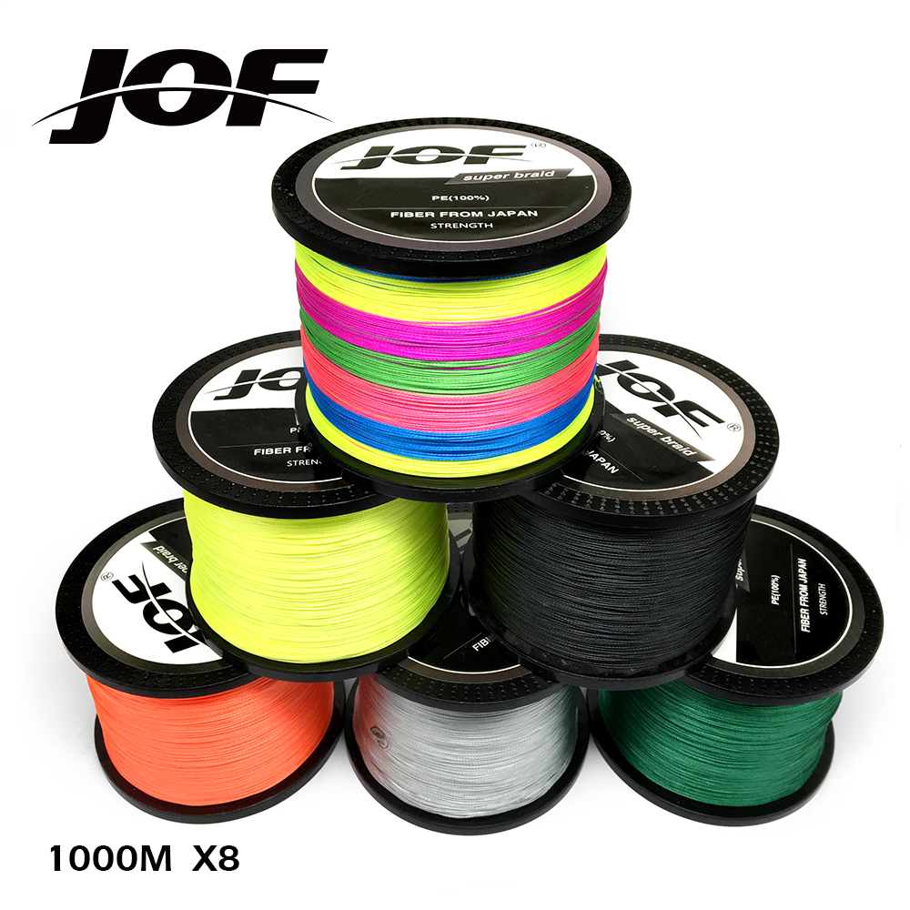 JOF 8 Strands 1000M PE Braided Fishing Line tresse peche Saltwater Fishing Weave Superior Extreme Super Strong 12LB to 78LB