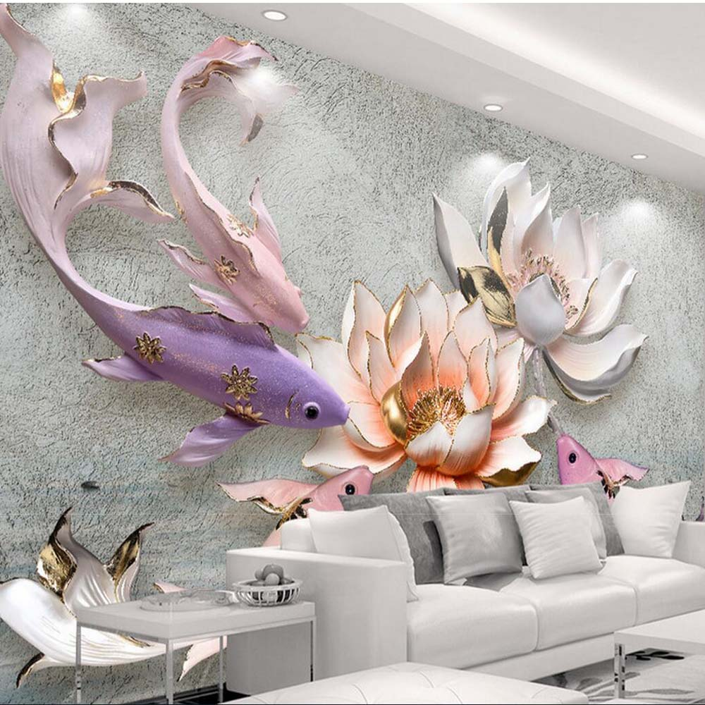 Buy chinese style waterlily fish vintage for Antique wallpaper mural