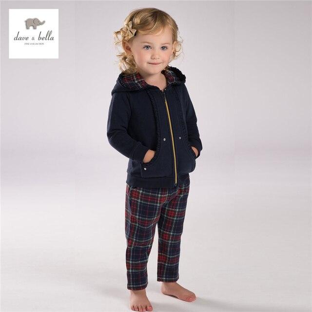 DB3910 dave bella autumn baby girl navy red clothing sets girls hooded sports set kids plaid grid clothing set