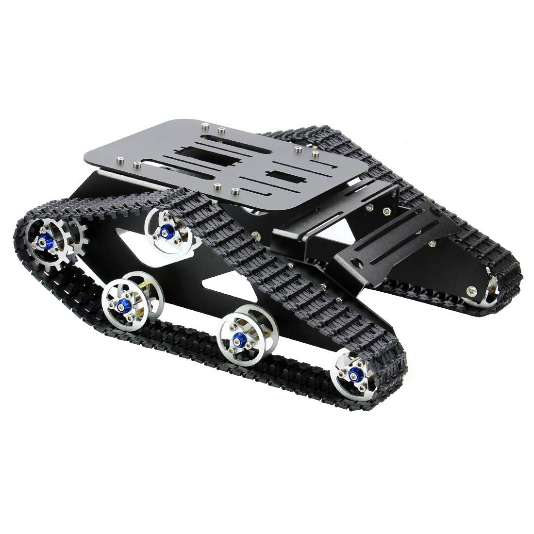 Smart Car Platform Tracked Robot Metal Aluminium Tank Chassis with Powerful Dual DC 12V Motor for DIY STEM Education Assembled