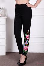 New Spring New Women National Style Embroidery Flowers Stretch Leggings Trousers Plus Size Middle Age Mother Fashion Feet Pants