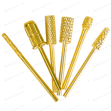 2016 Professional 6Pcs Nail Drill Bits File Grinding Head Set Electric Machine Gold Coated Carbide Manicure Care Tools Kits