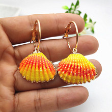 2019 Natural Shell Pendant Earrings Gold Circle Geometric Exaggerated Ring for Women Party Jewelry P718-722