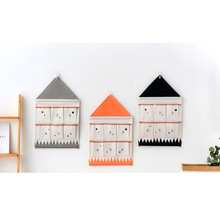 Home Bathroom Supplies Wall Hanging Storage Bag 6 Pocket Number House Shape Toys Cosmetic Sundries Folding Organizer