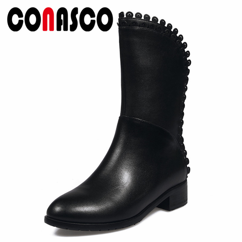 CONASCO New Arrival Women Genuine Leather Mid-calf Boots Square Heeled Autumn Winter Warm Long Martin Shoes Motorcycle Boots