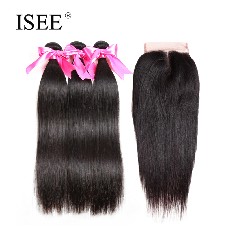 ISEE Human Hair Bundles With Closure Brazilian Straight Hair 3 Bundles With Closure 4*4Middle Part 4PCS/ Lot Remy Hair Extension
