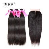 ISEE Human Hair Bundles With Closure Brazilian Straight Hair 3 Bundles With Closure 4 4Middle Part
