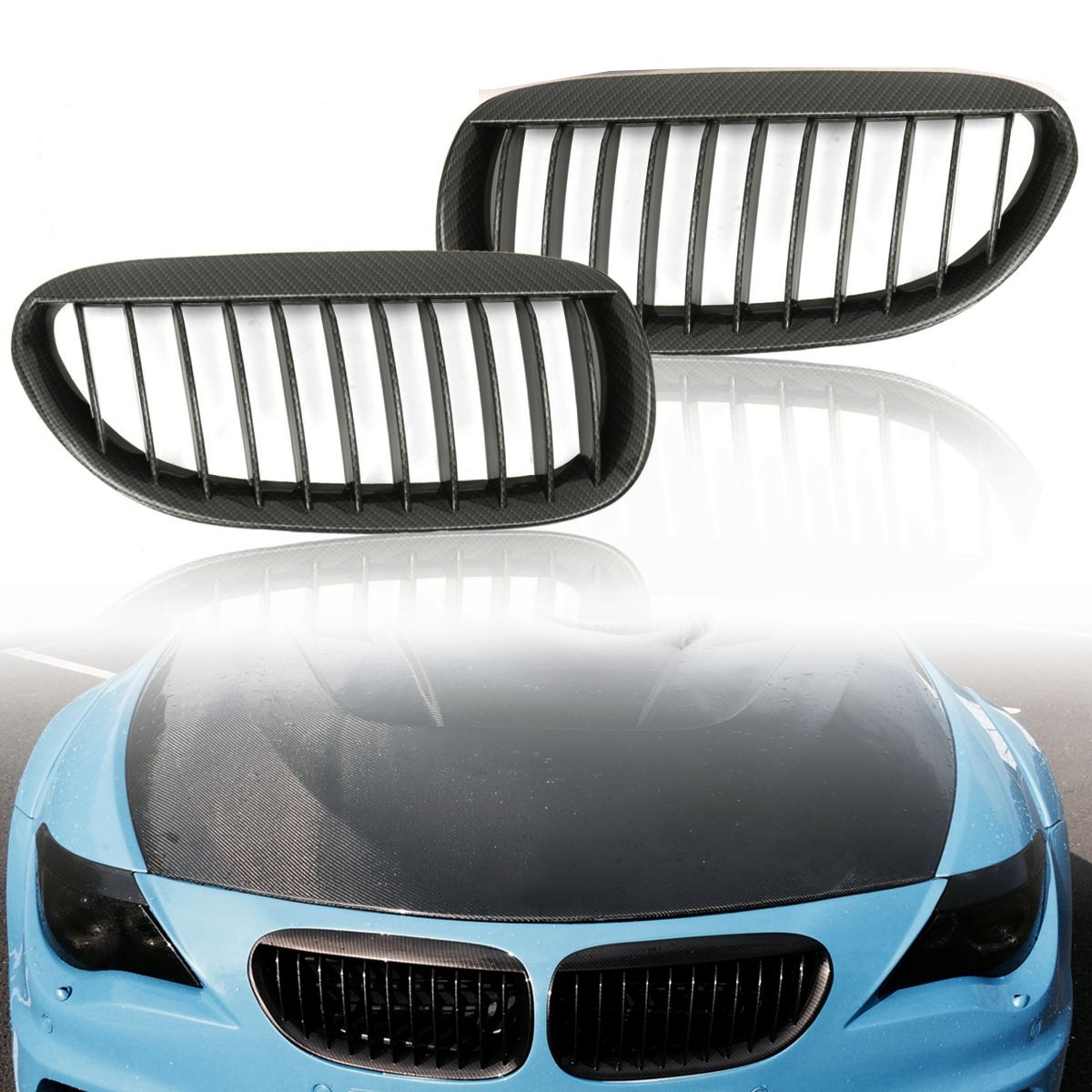 Pair Carbon Grain Kidney Grilles Front Right Left For BMW E63 E64 6 Series 2 Door Grille 2003 2004 2005 2006 2007 2008 2009 2010 pair car front headlamp clear lens headlight plastic shell clear cover for bmw e90 e91 2004 2005 2006 2007