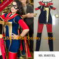 Free Shipping DHL Adult Ms. Marvel Kamala Khan Superhero Costume Halloween Party Cosplay Lycra Spandex Zentai Suit SH2329