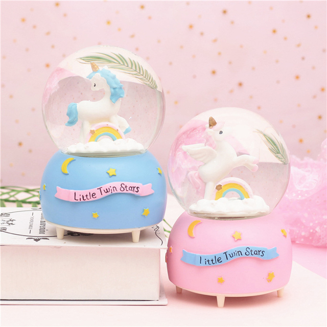 Cute Pink Unicorn Crystal Ball Music Box Gifts For The New Year Christmas Birthday Gifts Creative Crafts Home Desktop Decoration