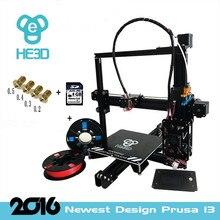 2016 El Más Nuevo kit de Impresora reprap 3D impresora HE3D I3 De Extrusión De Aluminio Filamento de impresión 3d 2 Rollos 8 GB LCD tarjeta SD Como Regalo