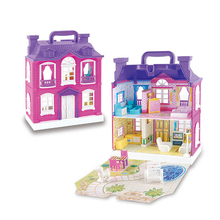 Toys Doll House with Music LED Light Miniature Furniture Doll Accessories Musical Castle Dollhouse Model Toy For Girls Gift hoomeda 13828 the star dreaming house diy dollhouse with light music miniature model gift decor toy gift for friend children