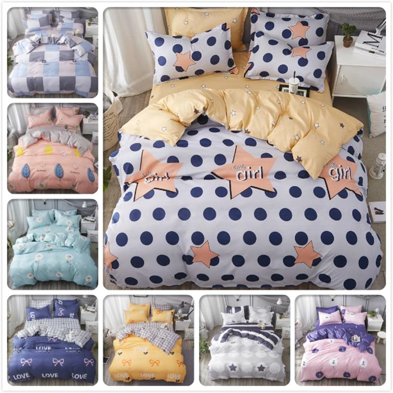 Romantic 1.35m 1.5m 1.8m 2m 2.2m Bed Linens 3pcs/4pcs Bedding Set Kids Soft Cotton Bedlinens Single Twin Queen King Full Size Duvet Cover High Quality Solar