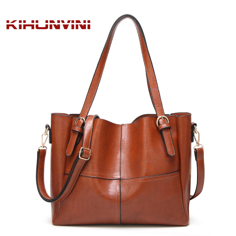 Vintage Waxed Leather Handbag Women Purses Oiled PU Retro Hand Bags Ladies Joint Patchwork Big Tote Bag Large Capacity Shopping